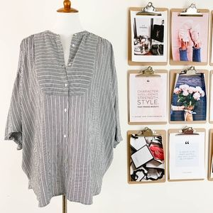 Whistles Dolman Sleeve Top Large Striped Cotton